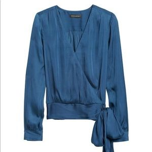 Banana Republic Soft Satin Puff-Sleeve Top
